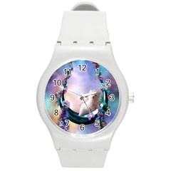 Cute Little Maltese Puppy On The Moon Round Plastic Sport Watch (m) by FantasyWorld7
