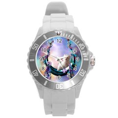 Cute Little Maltese Puppy On The Moon Round Plastic Sport Watch (l) by FantasyWorld7