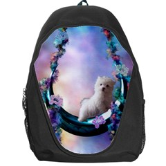 Cute Little Maltese Puppy On The Moon Backpack Bag by FantasyWorld7