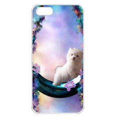 Cute Little Maltese Puppy On The Moon Apple Iphone 5 Seamless Case (white) by FantasyWorld7