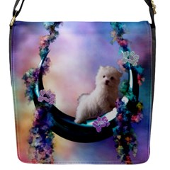 Cute Little Maltese Puppy On The Moon Flap Closure Messenger Bag (s) by FantasyWorld7