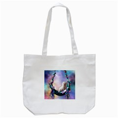 Cute Little Maltese Puppy On The Moon Tote Bag (white) by FantasyWorld7