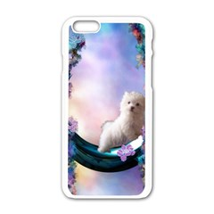 Cute Little Maltese Puppy On The Moon Apple Iphone 6/6s White Enamel Case by FantasyWorld7