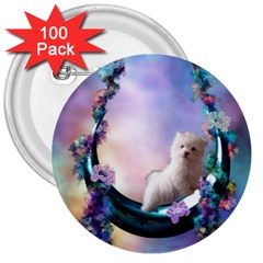 Cute Little Maltese Puppy On The Moon 3  Buttons (100 Pack)  by FantasyWorld7