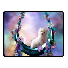 Cute Little Maltese Puppy On The Moon Double Sided Fleece Blanket (small)  by FantasyWorld7