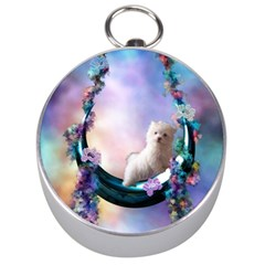 Cute Little Maltese Puppy On The Moon Silver Compasses by FantasyWorld7