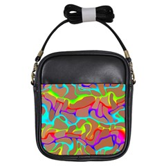 Colorful Wavy Shapes                                            Girls Sling Bag by LalyLauraFLM