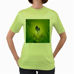 Wonderful Butterlies , Green Colors Women s Green T Shirt by FantasyWorld7