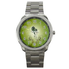 Wonderful Butterlies , Green Colors Sport Metal Watch by FantasyWorld7