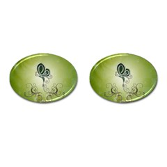 Wonderful Butterlies , Green Colors Cufflinks (oval) by FantasyWorld7