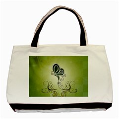 Wonderful Butterlies , Green Colors Basic Tote Bag (two Sides) by FantasyWorld7
