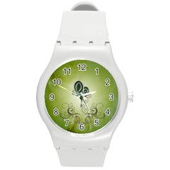Wonderful Butterlies , Green Colors Round Plastic Sport Watch (m) by FantasyWorld7