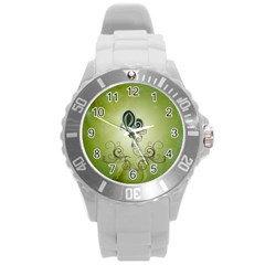 Wonderful Butterlies , Green Colors Round Plastic Sport Watch (l) by FantasyWorld7