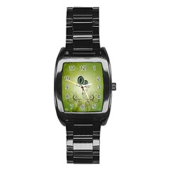 Wonderful Butterlies , Green Colors Stainless Steel Barrel Watch by FantasyWorld7