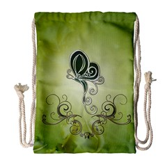 Wonderful Butterlies , Green Colors Drawstring Bag (large) by FantasyWorld7