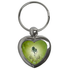 Wonderful Butterlies , Green Colors Key Chains (heart)  by FantasyWorld7
