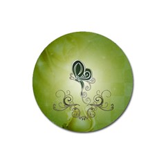 Wonderful Butterlies , Green Colors Magnet 3  (round) by FantasyWorld7
