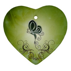 Wonderful Butterlies , Green Colors Heart Ornament (two Sides) by FantasyWorld7