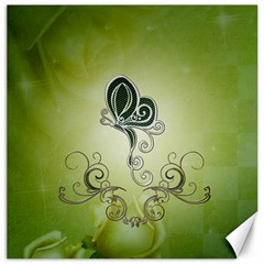 Wonderful Butterlies , Green Colors Canvas 16  X 16  by FantasyWorld7
