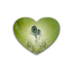 Wonderful Butterlies , Green Colors Heart Coaster (4 Pack)  by FantasyWorld7