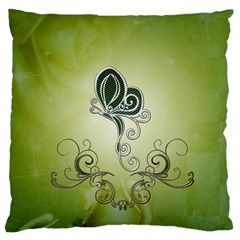 Wonderful Butterlies , Green Colors Large Cushion Case (two Sides) by FantasyWorld7