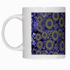 Blue Small Wonderful Floral In Mandalas White Mugs by pepitasart