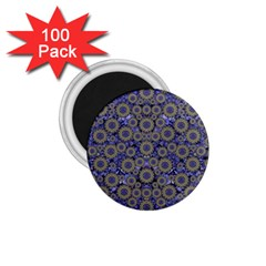 Blue Small Wonderful Floral In Mandalas 1 75  Magnets (100 Pack)  by pepitasart