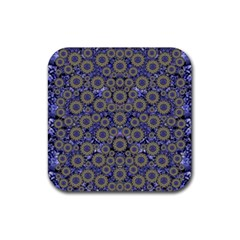 Blue Small Wonderful Floral In Mandalas Rubber Square Coaster (4 Pack)  by pepitasart