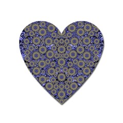 Blue Small Wonderful Floral In Mandalas Heart Magnet by pepitasart