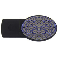 Blue Small Wonderful Floral In Mandalas Usb Flash Drive Oval (2 Gb) by pepitasart