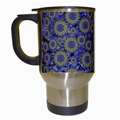 Blue Small Wonderful Floral In Mandalas Travel Mugs (white) by pepitasart