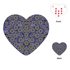 Blue Small Wonderful Floral In Mandalas Playing Cards (heart) by pepitasart