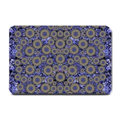 Blue Small Wonderful Floral In Mandalas Small Doormat  by pepitasart