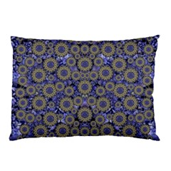 Blue Small Wonderful Floral In Mandalas Pillow Case by pepitasart