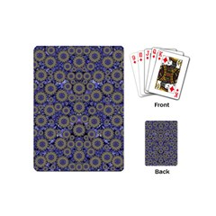 Blue Small Wonderful Floral In Mandalas Playing Cards (mini) by pepitasart