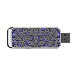 Blue Small Wonderful Floral In Mandalas Portable Usb Flash (one Side) by pepitasart