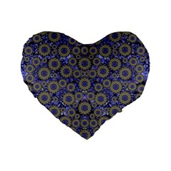 Blue Small Wonderful Floral In Mandalas Standard 16  Premium Heart Shape Cushions by pepitasart