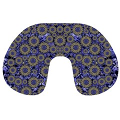 Blue Small Wonderful Floral In Mandalas Travel Neck Pillows by pepitasart