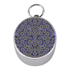 Blue Small Wonderful Floral In Mandalas Mini Silver Compasses by pepitasart