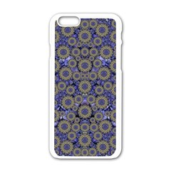 Blue Small Wonderful Floral In Mandalas Apple Iphone 6/6s White Enamel Case by pepitasart