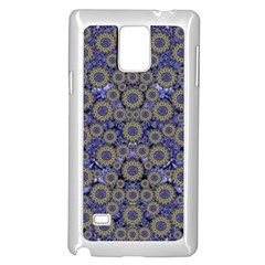 Blue Small Wonderful Floral In Mandalas Samsung Galaxy Note 4 Case (white) by pepitasart