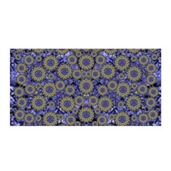 Blue Small Wonderful Floral In Mandalas Satin Wrap by pepitasart