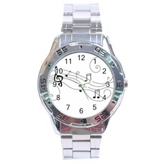 Music Partition Stainless Steel Analogue Watch by alllovelyideas