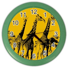 Giraffe  Color Wall Clock by Valentinaart