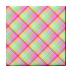 Pastel Rainbow Tablecloth Diagonal Check Tile Coasters by PodArtist