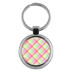 Pastel Rainbow Tablecloth Diagonal Check Key Chains (round)  by PodArtist
