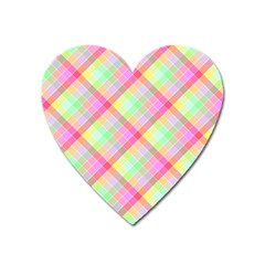 Pastel Rainbow Tablecloth Diagonal Check Heart Magnet by PodArtist