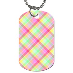 Pastel Rainbow Tablecloth Diagonal Check Dog Tag (two Sides) by PodArtist
