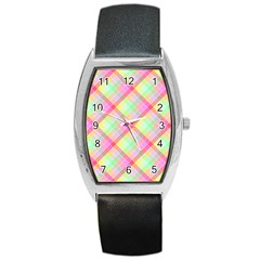 Pastel Rainbow Tablecloth Diagonal Check Barrel Style Metal Watch by PodArtist