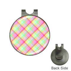 Pastel Rainbow Tablecloth Diagonal Check Hat Clips With Golf Markers by PodArtist